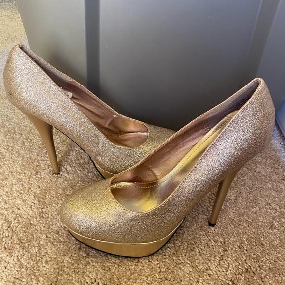 Shoes | Sparkling Gold Heels | Poshmark